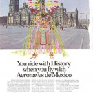 Aeronaves de Mexico Mayan Mexico City Cathedral Vintage Ad 1970