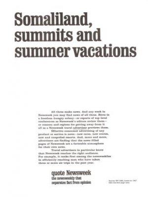 Newsweek Somaliland Summits Summer Vacations Magazine Vintage Ad 1967