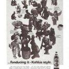 Kahlua Fondueing it Pre Columbian Figures Vintage Ad 1960's