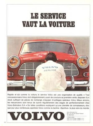 Volvo Service Red Car French Vintage Ad 1965