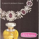 Detchema Revillon Diamond Jewelry Perfume French Vintage Ad 1965