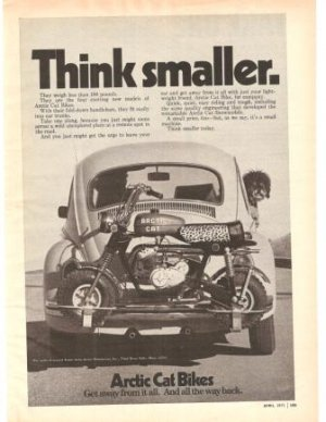 Arctic Cat Bikes VW Car Trunk Vintage Ad 1971