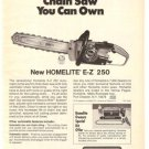 Homelite Automatic Chain Saw E-Z 250 Vintage Ad 1971