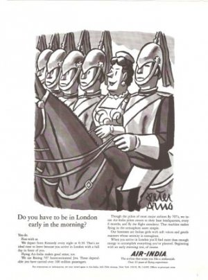 Air India London Soldiers on Horse Peter Arno 1966 Vintage Ad