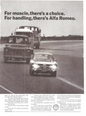 Alfra Romeo 1750 GT Veloce Handling Vintage Ad June 1971