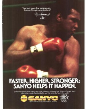 Muhammad Ali Boxer Sanyo Video Products Vintage Ad 1984 Olympic Games