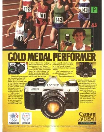 canon ae 1 camera gold medal performer vintage ad 1984