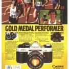 Canon AE-1 Camera Gold Medal Performer Vintage Ad 1984 Olympics
