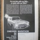 Checker Marathon Car 1968 Vintage Ad