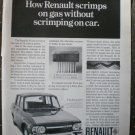 Renault 10 Scrimp on Gas 35mpg 1968 Vintage Ad
