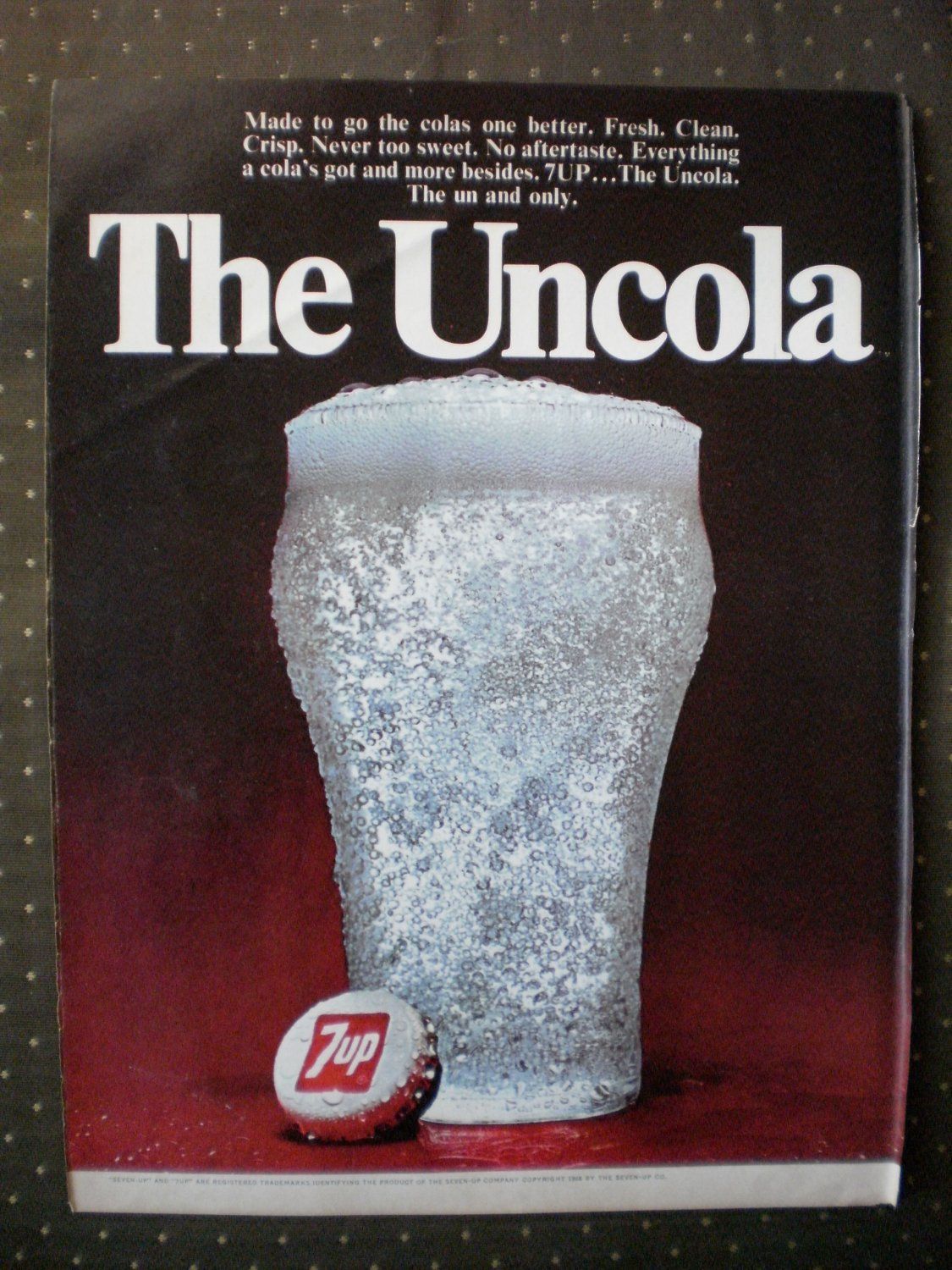 7up Uncola Soda Glass Un Cola Vintage Ad 1968