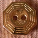 Sewing Button Octagon Gold 2-hole Lot 6 1.3mm Vintage