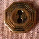 Sewing Button Octagon Brass 2-hole Lot 6 1.3mm Vintage