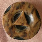 Large Tortoise Shell Brown on Black Art Deco Button Metal Shank