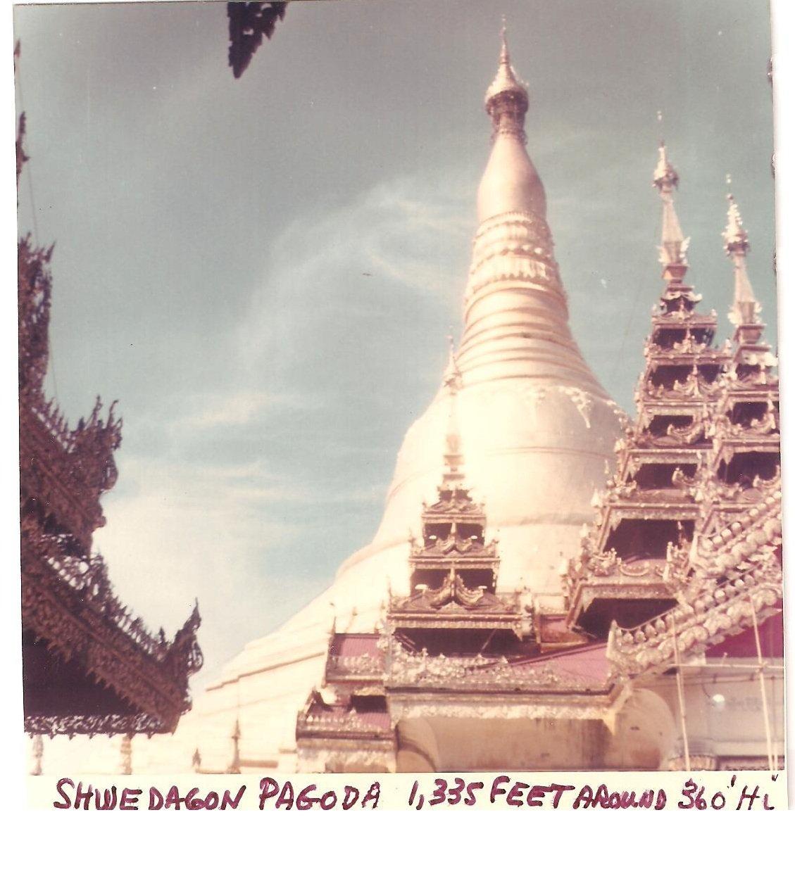 Vintage Photograph Burma Shwe Dagon Pagoda 1335 ft 1968 Myanmar