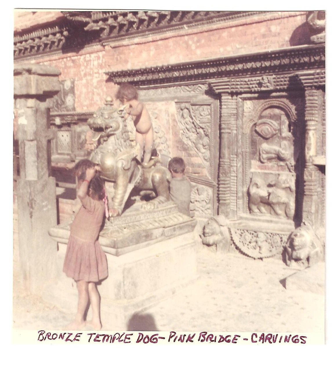 Vintage Photograph Bronze Temple Dog Pink Bridge Carvings Nepal 1968