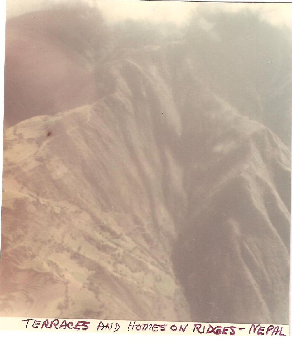 Vintage Photograph Terraces Homes on Ridges Himalayas Nepal 1968