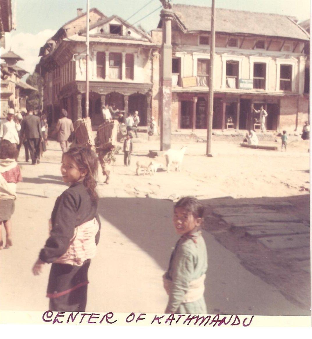 Vintage Photograph Center Kathmandu Children Walking Nepal 1968