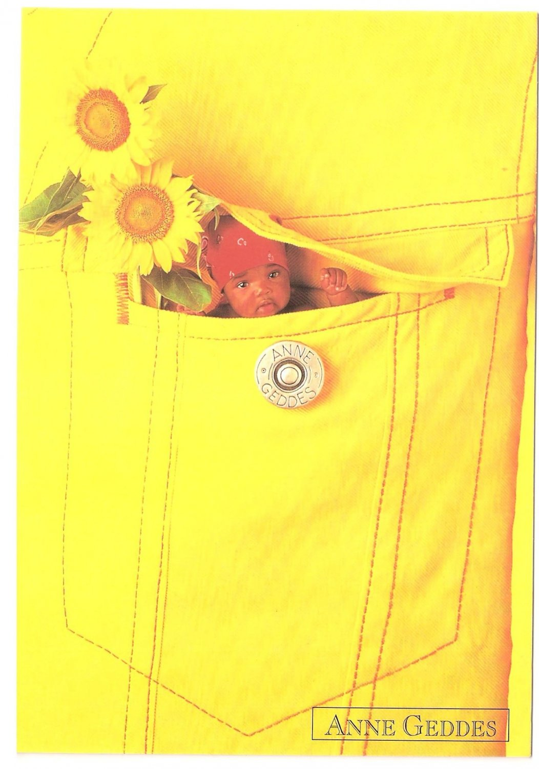 Anne Geddes Postcard 1995 605-021 Baby Sunflower Pocket 4x6