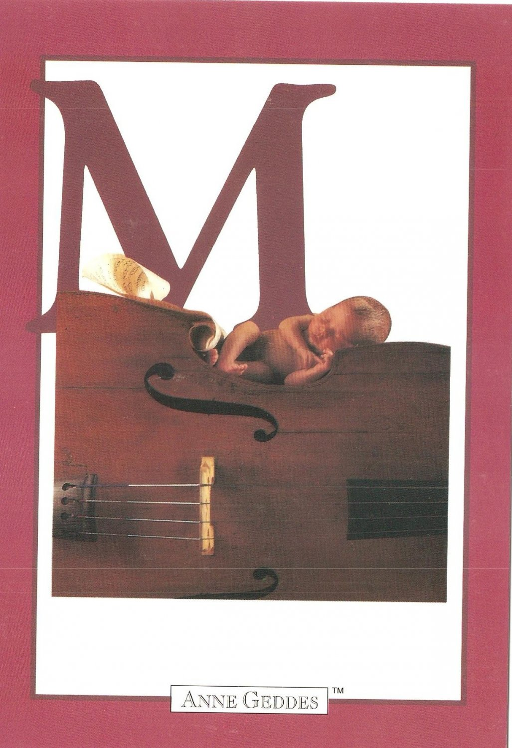 Anne Geddes Postcard 1995 605-066 M is for Music Baby 4x6