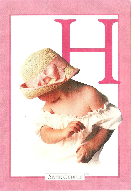 Anne Geddes Postcard 1995 605-061 H is for Hat Baby 4x6