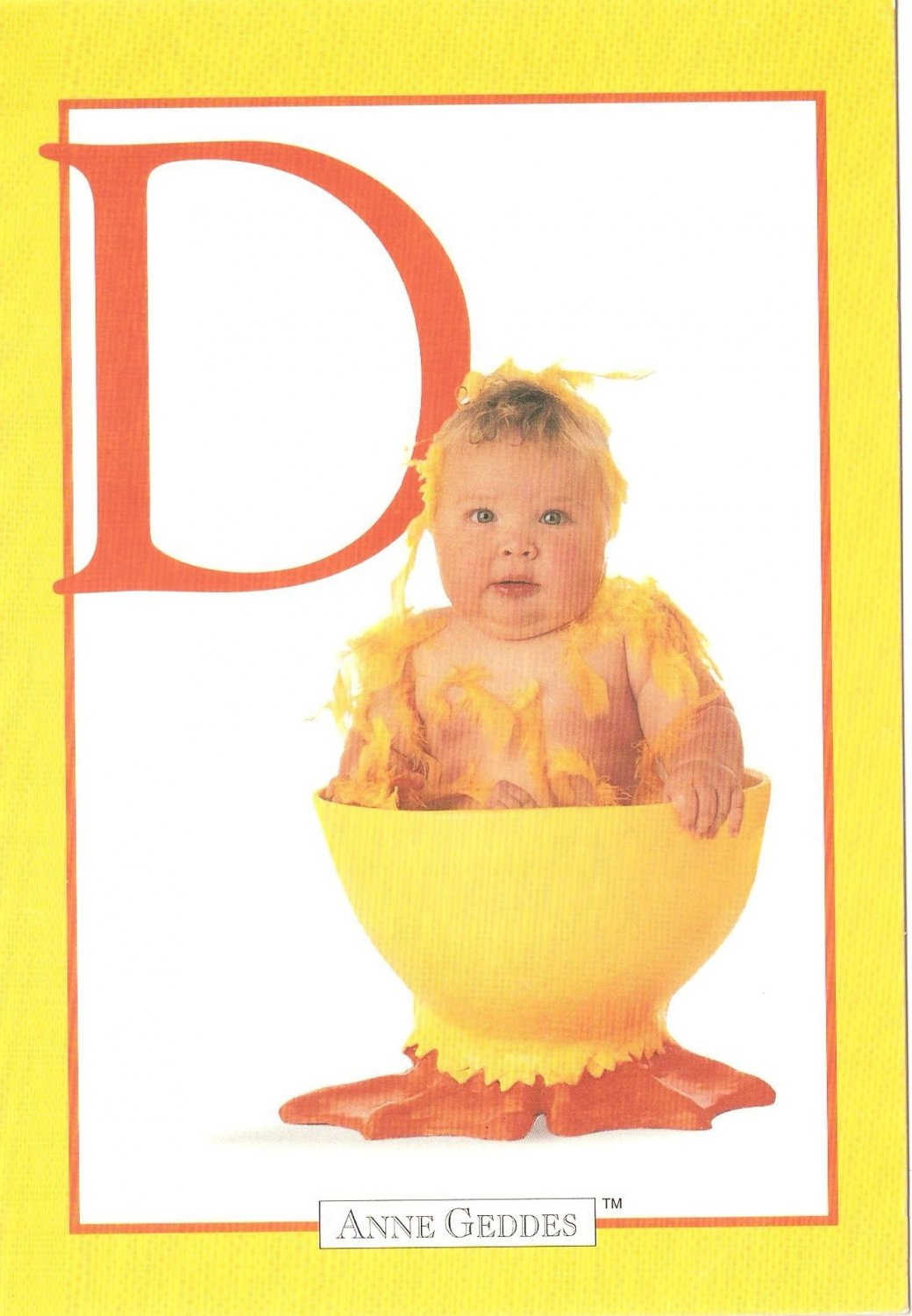 Anne Geddes Postcard 1995 605-057 D is for Duckling Baby 4x6