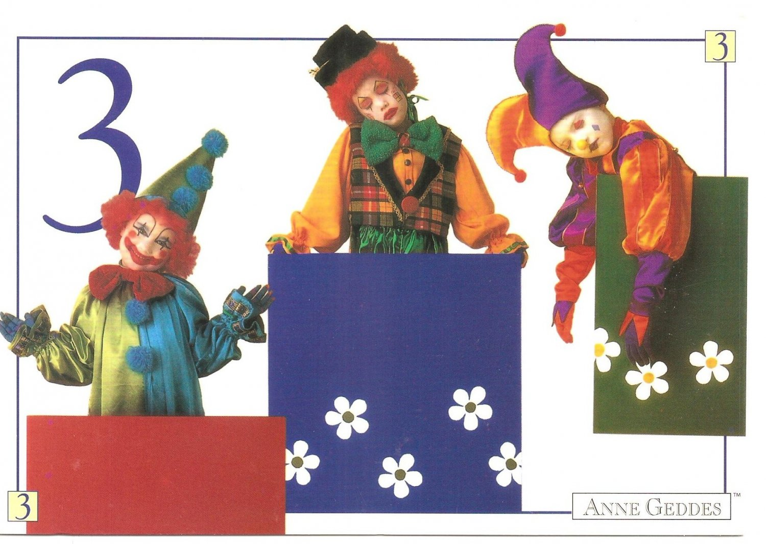Anne Geddes Postcard 1995 605-082 3 Clown Baby 4x6