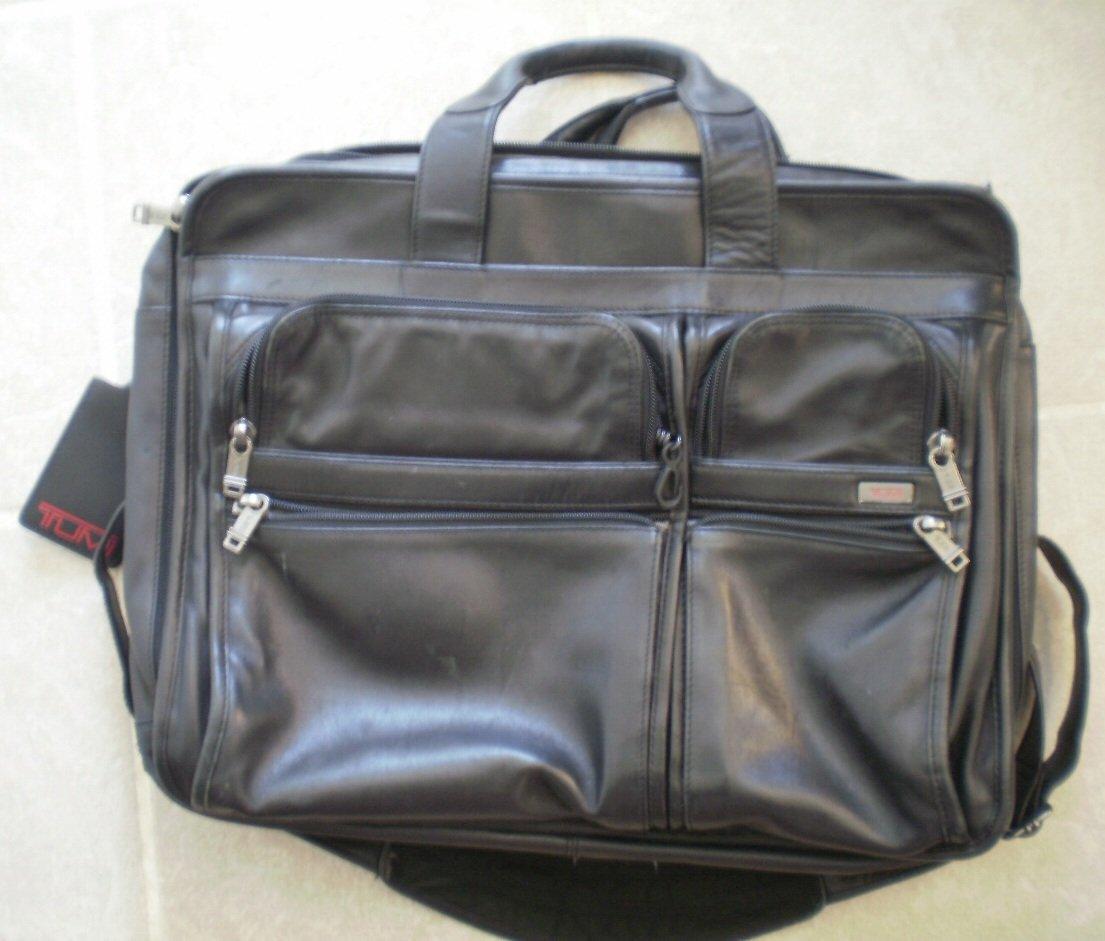 Tumi Black Leather Briefcase Attache Case Bag Expandable Brief Alpha 96061D4