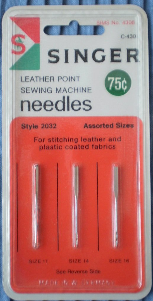 Singer Leather Point Sewing Machine Needles SIMS 4308 C-430 2032 11-14-16