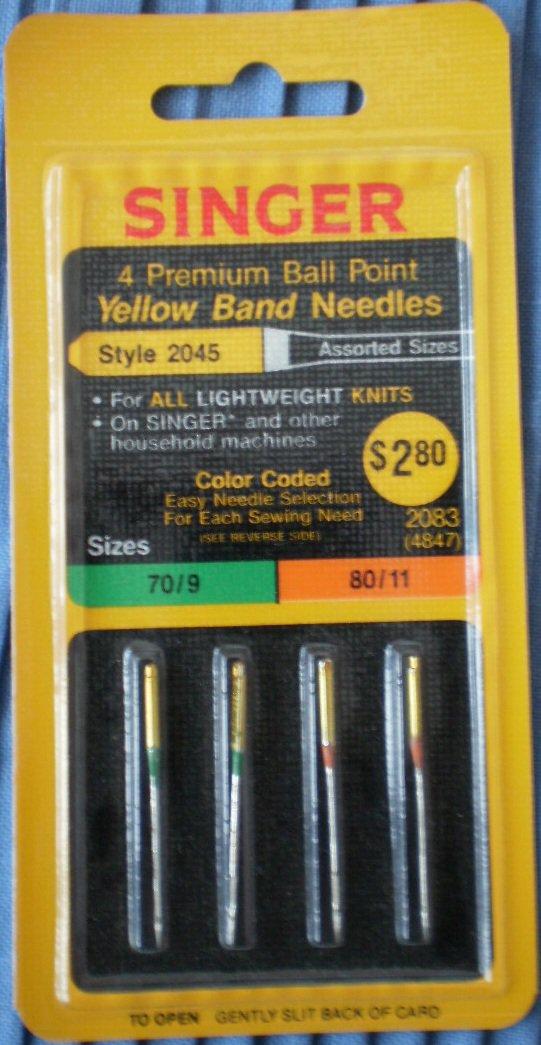 Singer Premium Ball Point Yellow Band Needles 2045 Asstd Sizes 70/9 80/11 2083 4847