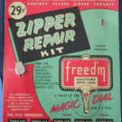 Freed'm Magic Dial Zipper Repair Kit Vintage Slide Fastener On Card
