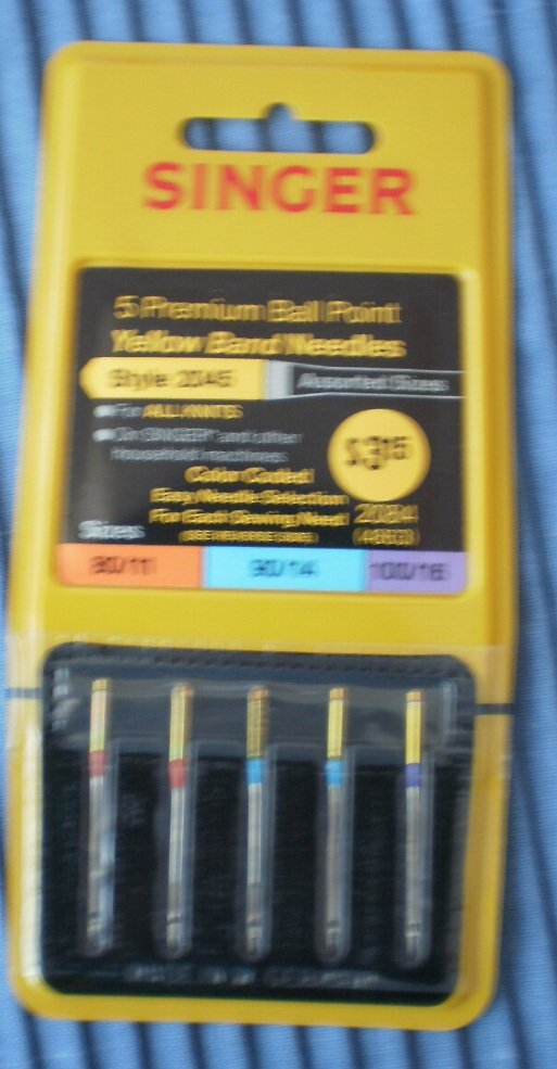 Singer Premium Ball Point Yellow Band Needles 2045 Asstd Size 80/11 90/14 100/16 2084