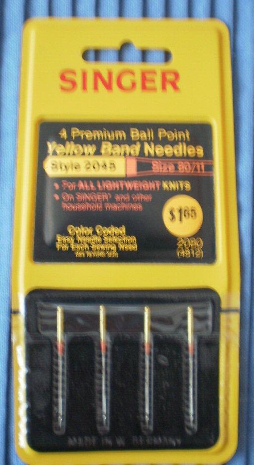 Singer Premium Ball Point Yellow Band Needles 2045 80/11 2080 4812 NOS