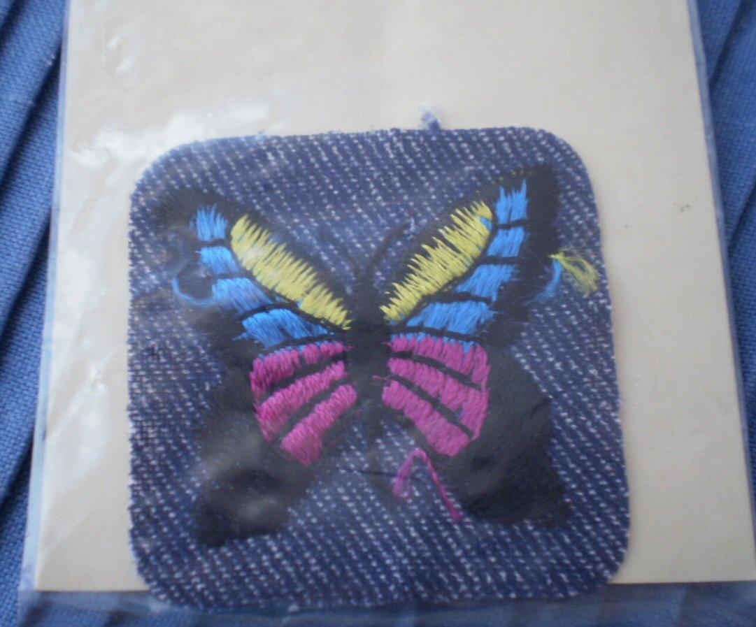 Iron On Patch Butterfly Denim Designer Fabrics NOS