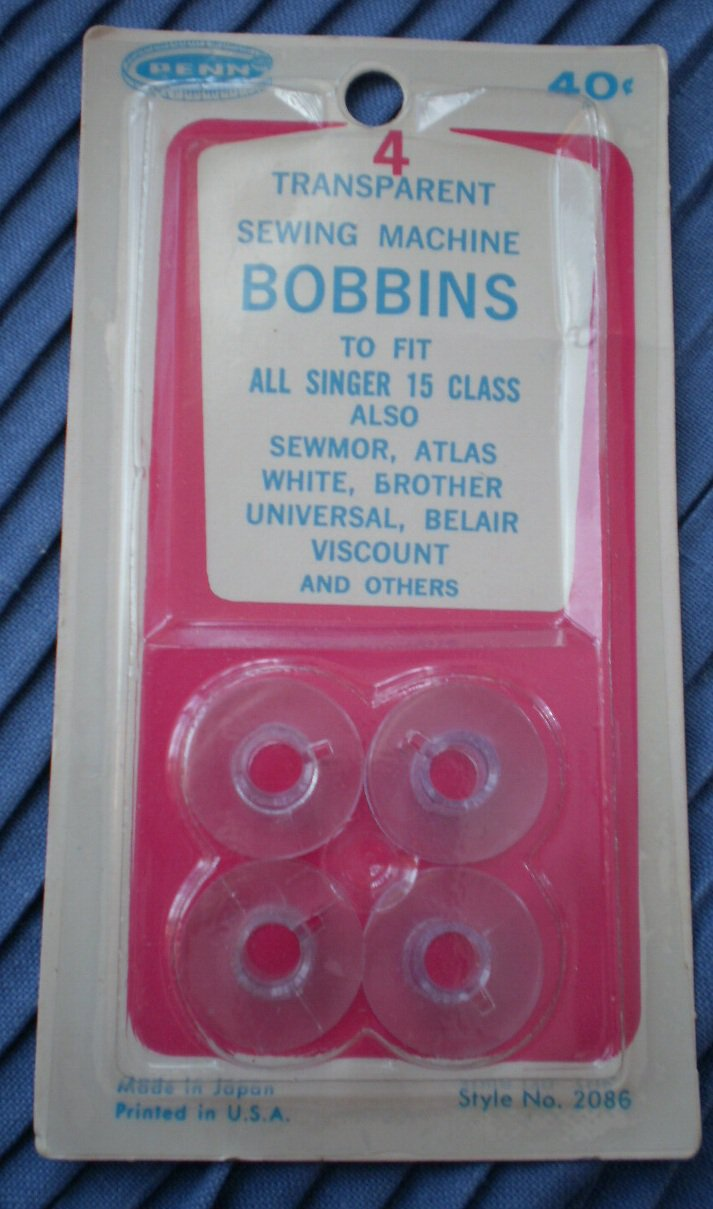 Penn Sewing Machine Bobbins 2086 Transparent Plastic Singer 15 NOS Vintage