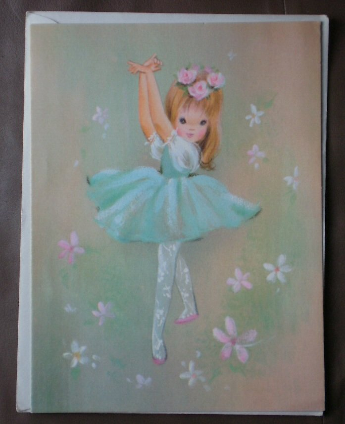 Birthday Card Sunshine Vintage Greeting 35X5179 Stationery Ballerina Ballet Girl