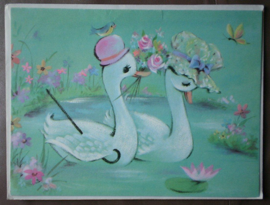 Wedding Anniversary Engagement Sunshine Vintage Greeting 35X51717 Stationery Swan