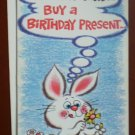 Birthday Card Vintage Amberley Greeting 1984 Bunny Rabbit Buy a Present