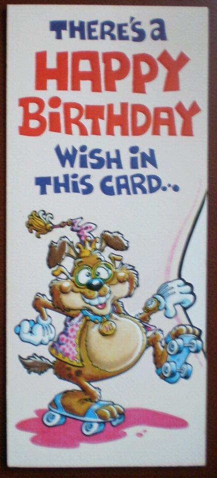 Birthday Card Vintage Mark 1 Inc Roller Skates Dog