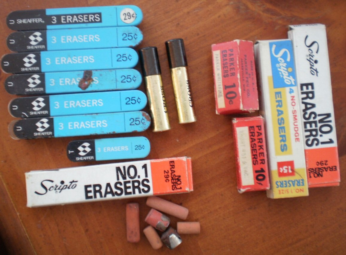 Lot Erasers Empty Box Vintage Cross Scripto Parker Sheaffer for Mechanical Pencils