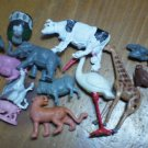 Lot Plastic Animals Vintage Flamingo Cow Sheep Turkey Pig Chicken