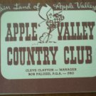 Vintage Golf Scorecard Apple Valley Country Club Bob Paluzzi 1958 Score Card