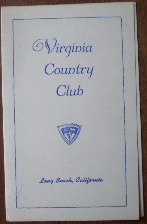 Vintage Golf Scorecard Virginia Country Club Long Beach CA ...