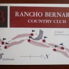 Vintage Golf Scorecard Rancho Bernardo Country Club CA score card