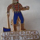 Lumberjack Ski Big Tupper New York Vintage Enamel Goldtone Metal