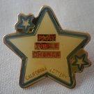 California Lottery Play Triple Chance Pin Enamel Star Goldtone  Metal State