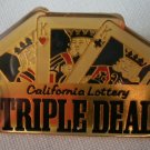 California Lottery Triple Deal Pin Enamel Cards Goldtone  Metal State