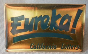 California Lottery Eureka Pin Jonathan Grey Enamel Goldtone Metal State