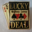 California Lottery Lucky Deal Pin Enamel Cards Goldtone Metal State