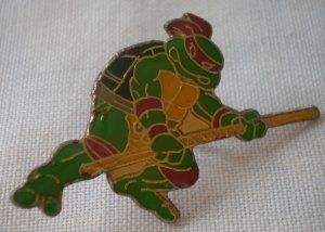 TMNT Donatello Pin Teenage Mutant Ninja Turtle 1989 Mirage Enamel Goldtone Metal Vintage